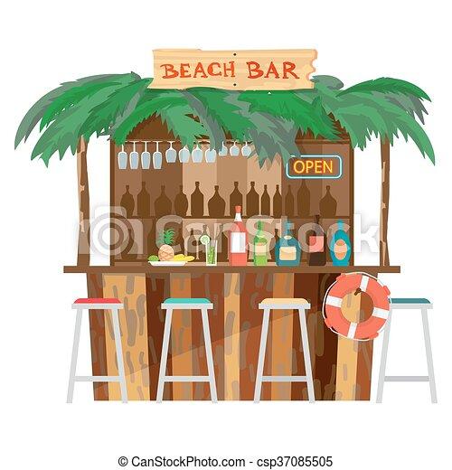 Boissons été Plage Barre Illustration Délassant Plat Pavillons Vacances Isolé Barre Tropicale Vecteur Coast Fruits Océan Plage