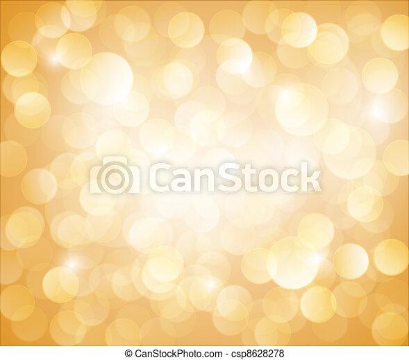 bokeh, 벡터, 명란한, 노란 배경 - csp8628278