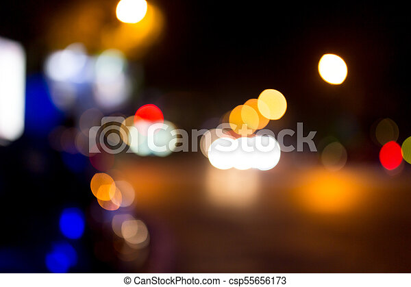 Bokeh at night in the city as a background - csp55656173