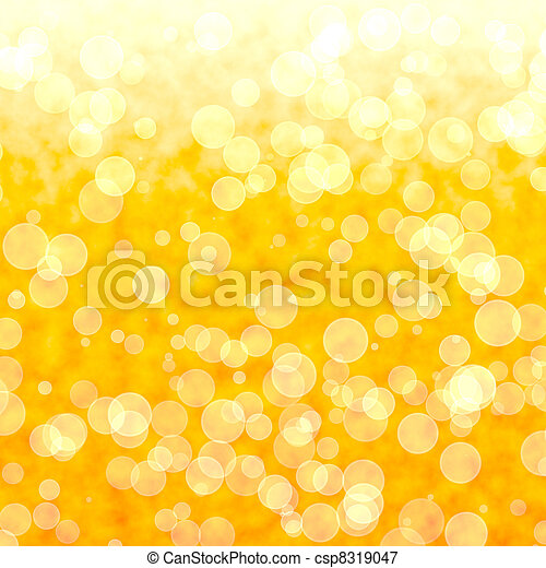 Bokeh Vibrant Yellow Background With Blurry Lights  - csp8319047