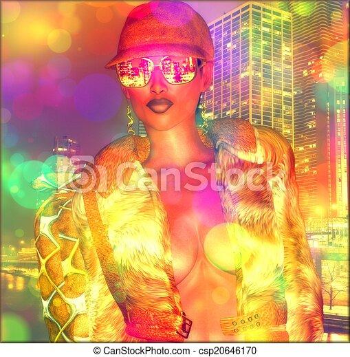 Bokeh,abstract, city girl. - csp20646170