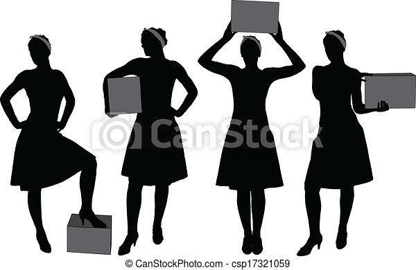boks, kobieta, transport, sylwetka - csp17321059