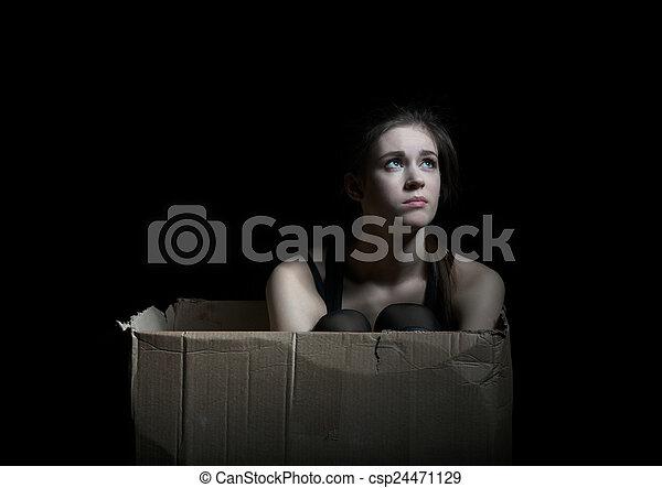 boks, posiedzenie, przewrócić, przedstawianie, dziewczyna, tektura - csp24471129