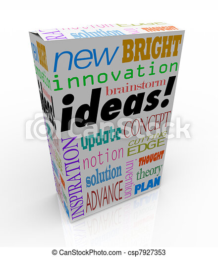boks, produkt, pojęcie, pojęcia, innowacyjny, brainstorm, natchnienie - csp7927353