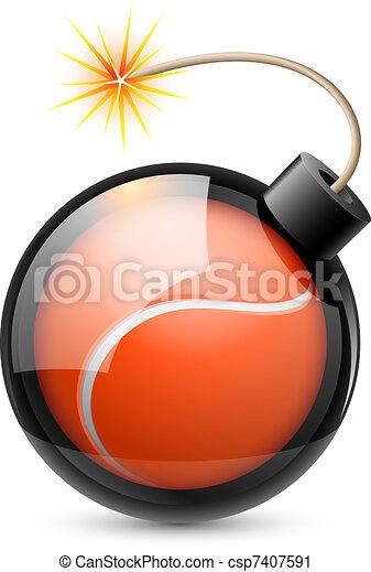 bola, bomba, semelhante, dado forma, abstratos, tênis - csp7407591