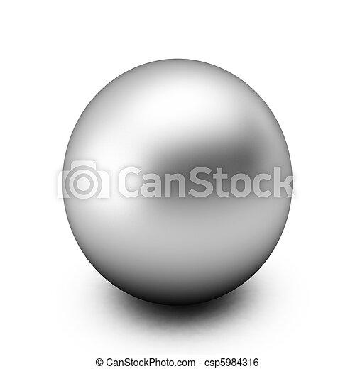 bola branca, prata, render, 3d - csp5984316