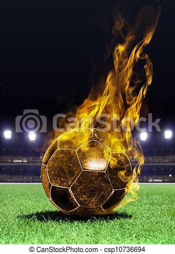 bola futebol, inflamável, campo - csp10736694