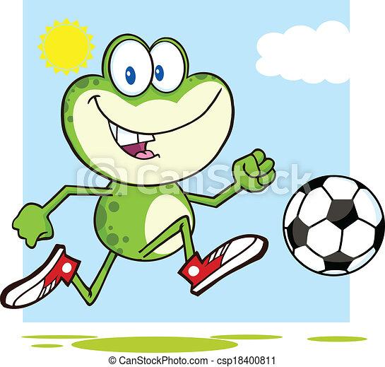 bola futebol, verde, tocando, rã - csp18400811