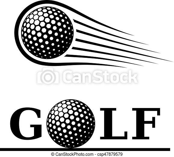 bola, golfe, texto, símbolo, movimento, linha - csp47879579