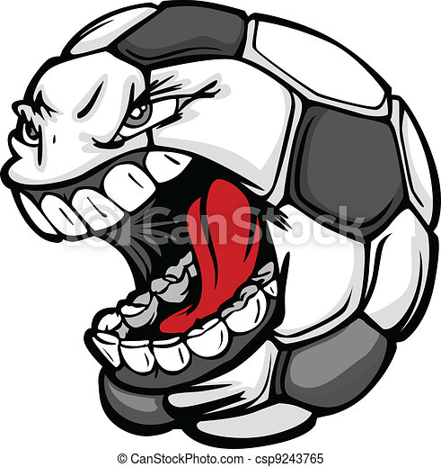 bola, imagem, rosto, vetorial, futebol, gritando, caricatura - csp9243765