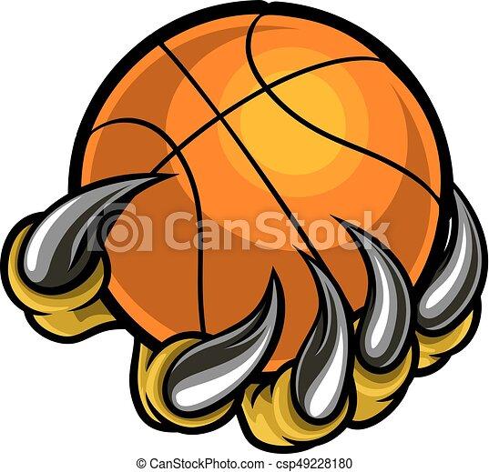 bola monstro basquetebol animal segurando garra ou