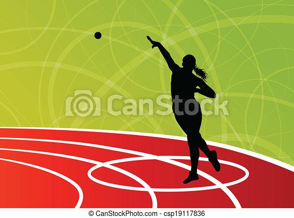 bola, mulher, tiro, jogar, putter, ilustração, silhuetas, vetorial, fundo, ativo, atletismo, desporto, abstratos - csp19117836