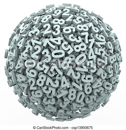 bola, número, esfera, aprendizagem, contabilidade, contagem, matemática - csp13900675