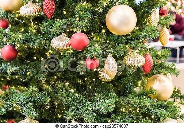bolas, árvore, decorações natal - csp23574007