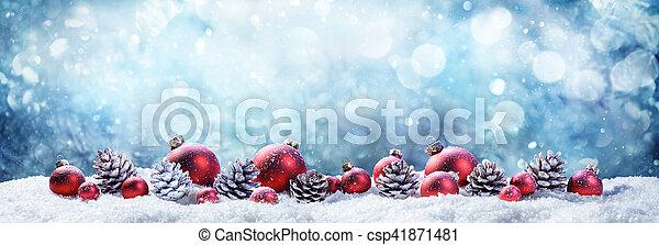 bolas, cena nevada, wintery, natal, pinecones - csp41871481