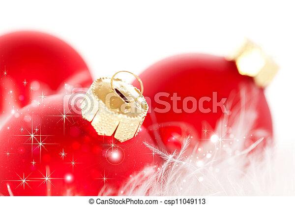 bolas, natal, vermelho - csp11049113