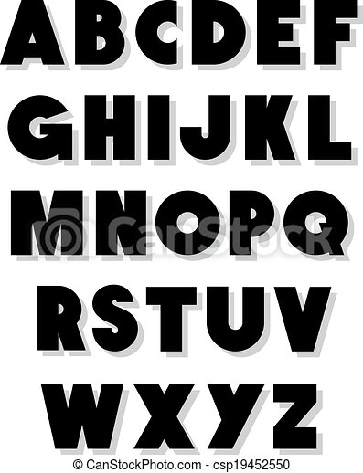 bold alphabet font type vector alphabet clipart vector