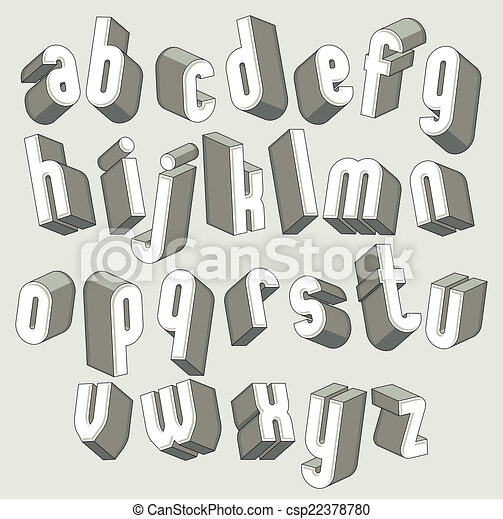 Bold and heavy 3d letters set, dimensional vector font. - csp22378780