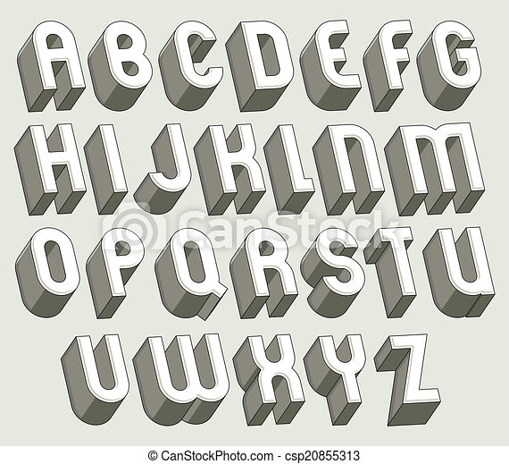 Bold and heavy 3d letters set. - csp20855313
