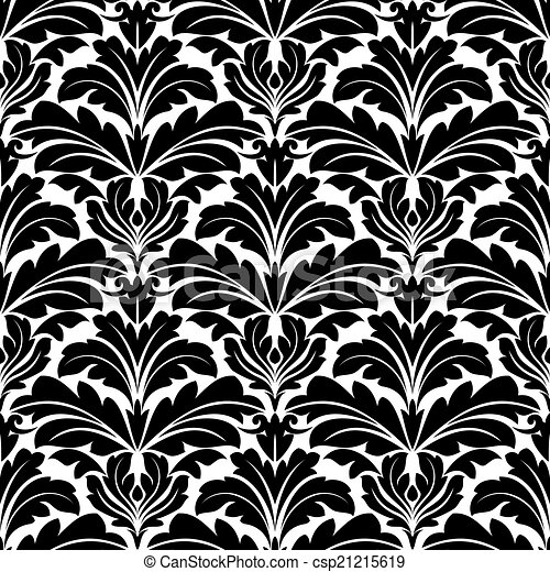 Bold Black And White Damask Floral Seamless Pattern