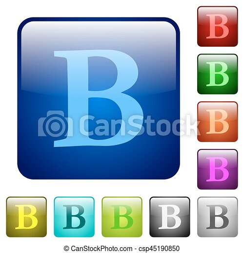 Bold font type color square buttons - csp45190850