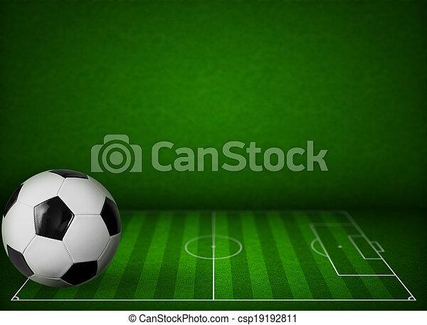 bold, græs, fodbold felt, baggrund, soccer, eller - csp19192811