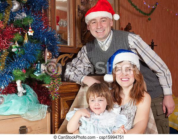 boldog, fa, három, család christmas - csp15994751