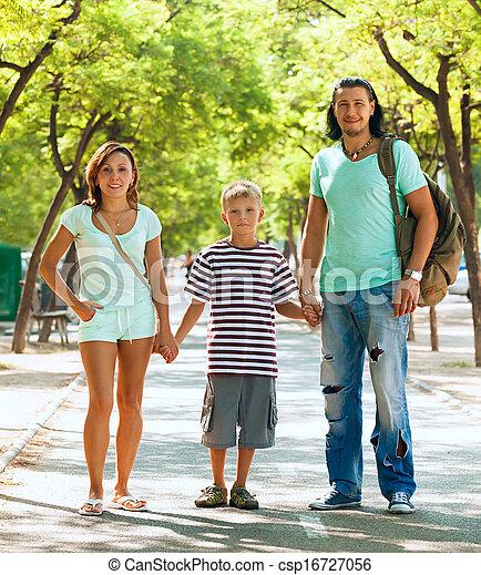 boldog, három, család, tizenéves - csp16727056