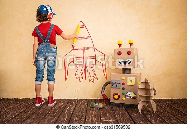 boldog, játékszer, játék, robot gyermekek - csp31569502