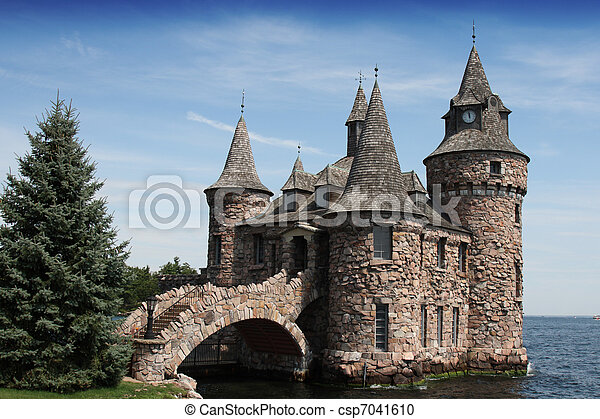 boldt castle power house and clock  - csp7041610