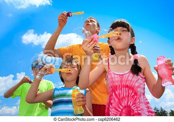 bolhas, soprando, crianças - csp6206462
