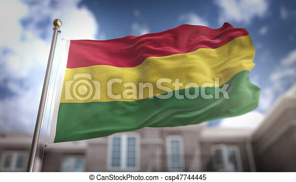 Bolivia Flag 3D Rendering on Blue Sky Building Background - csp47744445