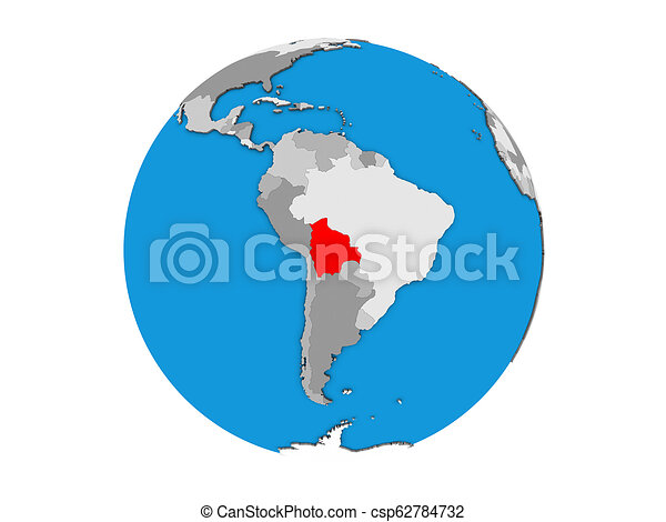 Bolivia on 3D globe isolated - csp62784732