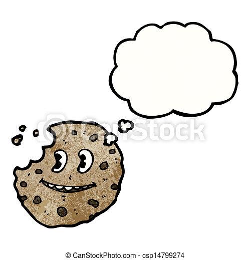 bolla pensiero, biscotto, cartone animato - csp14799274