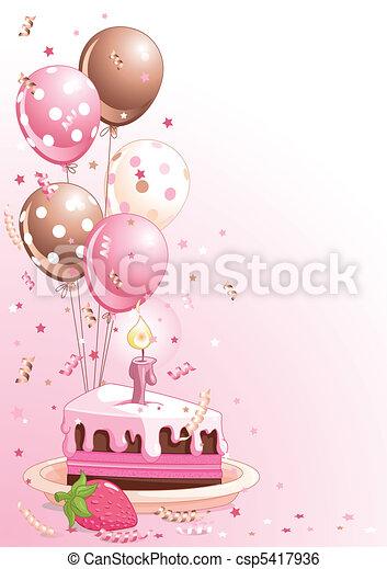 Bolo Aniversario Baloes Cor De Rosa Fatia Clipart Bolo