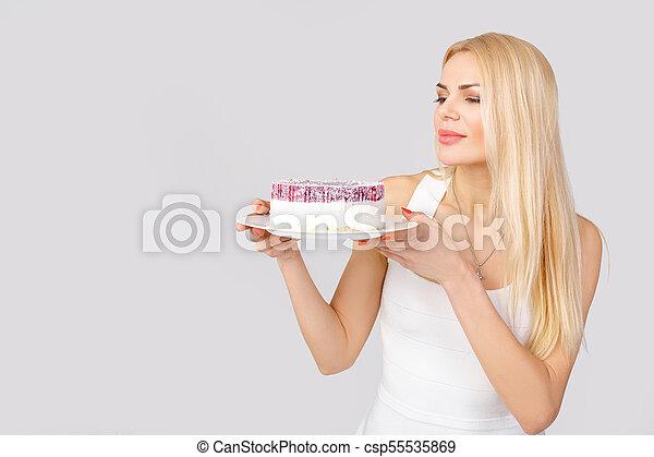 bolo, branca, mulher, vestido, segurando - csp55535869