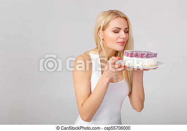 bolo, branca, mulher, vestido, segurando - csp55706000