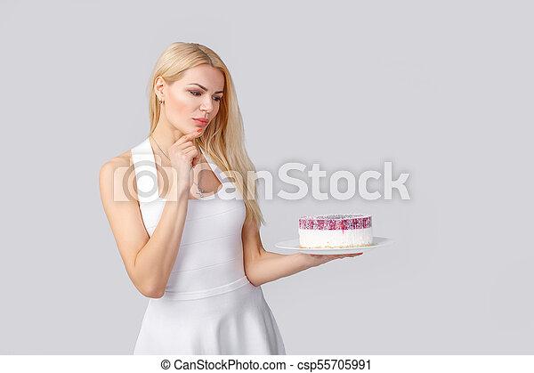 bolo, branca, mulher, vestido, segurando - csp55705991