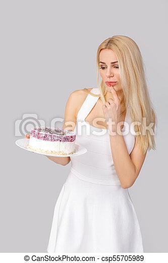 bolo, branca, mulher, vestido, segurando - csp55705989