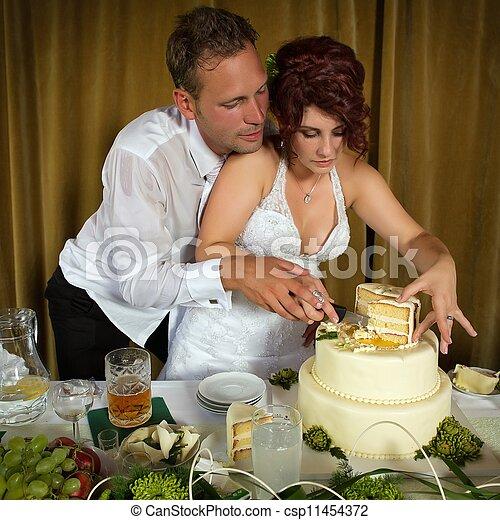 bolo, corte, casório - csp11454372