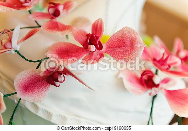 bolo, decoração, flores, casório - csp19190635