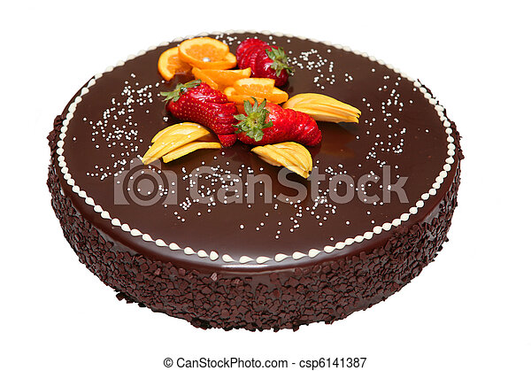 Bolo Decorado Fruta Chocolate Fruta Isolado Bolo Chocolate