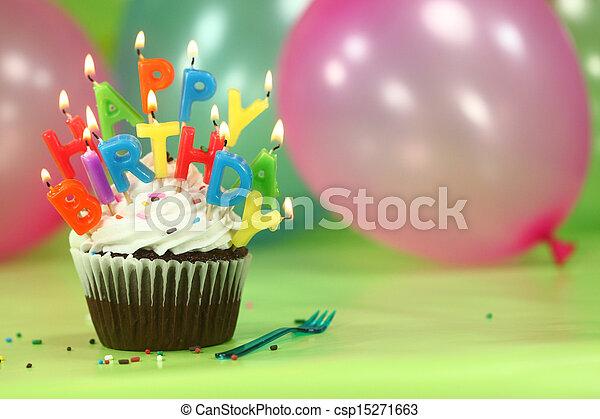 bolo, velas, balões, celebração - csp15271663