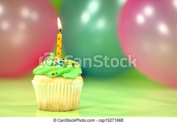 bolo, velas, balões, celebração - csp15271668