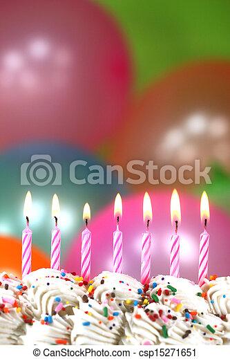 bolo, velas, balões, celebração - csp15271651