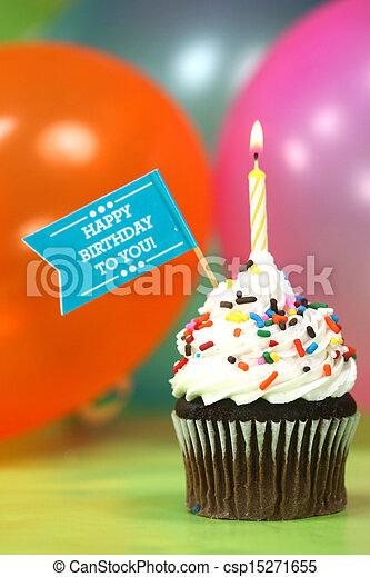 bolo, velas, balões, celebração - csp15271655