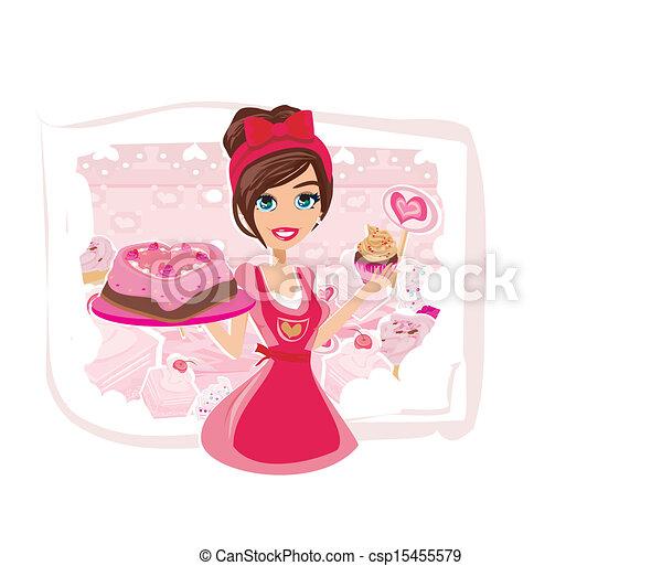 bolos, servindo, saleswoman, chocolate - csp15455579
