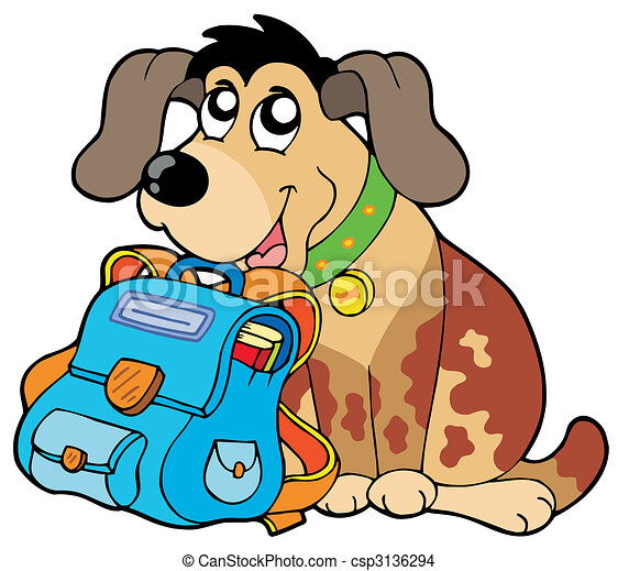 Perro sentado con una bolsa de la escuela - csp3136294