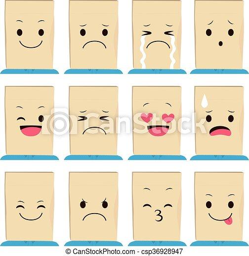 expresiones de cara de bolsa de papel - csp36928947