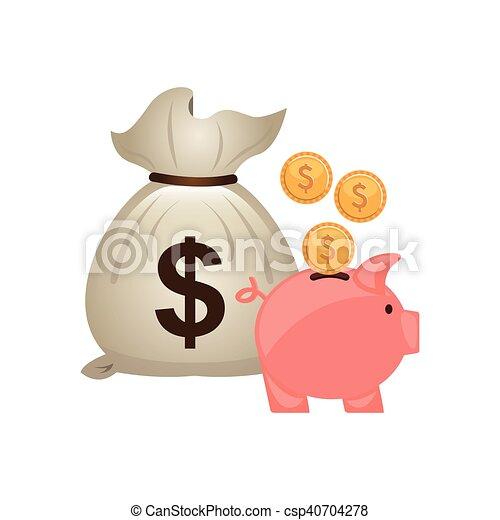 Bolsa de dinero con icono económico - csp40704278